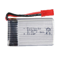 3.7v 500(650) mAh Li-poly Battery Z-9 Drone (Red Tip)